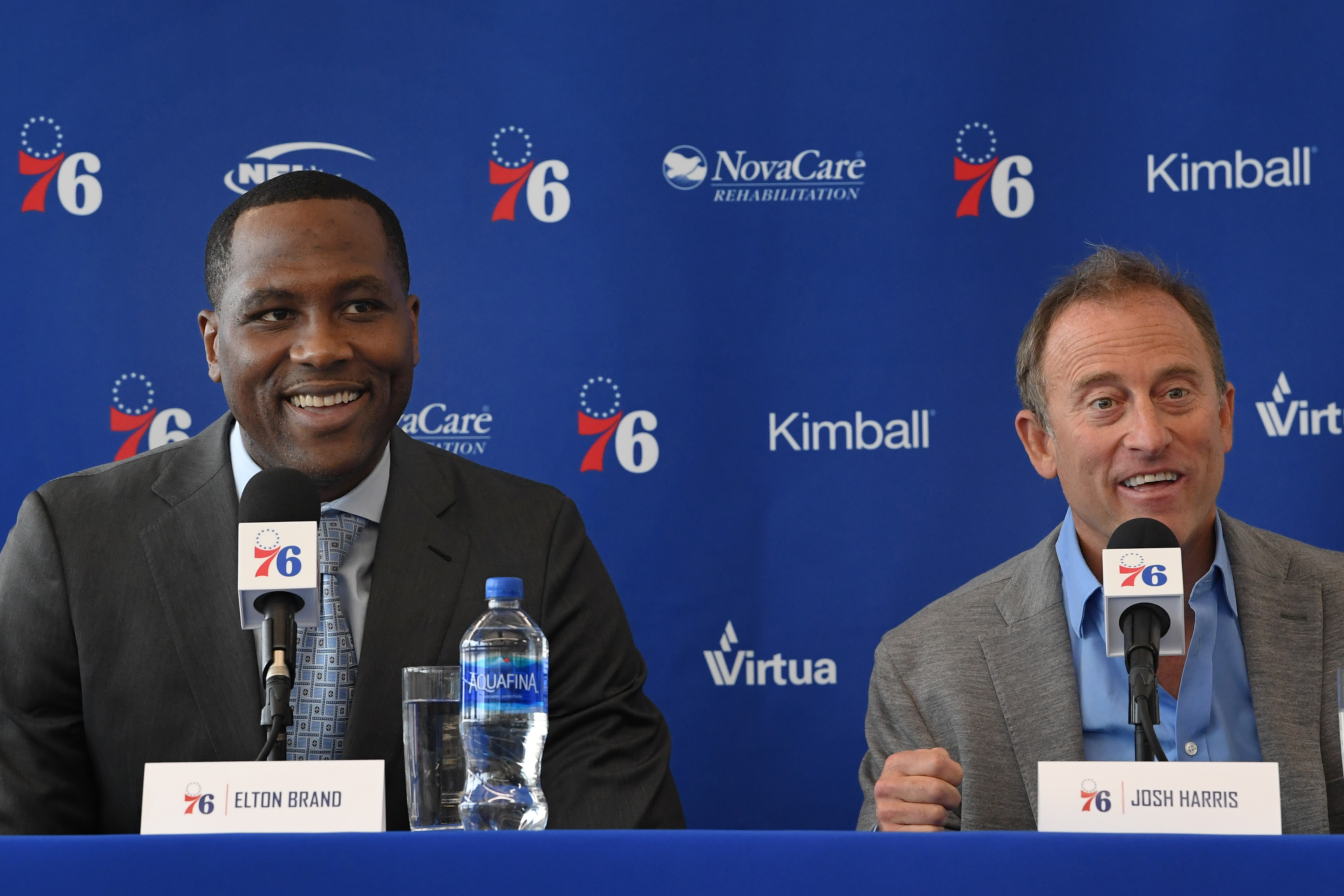 Sixers owner Josh Harris, right, introduces Elton Brand as the team�s new general manager Thursday.