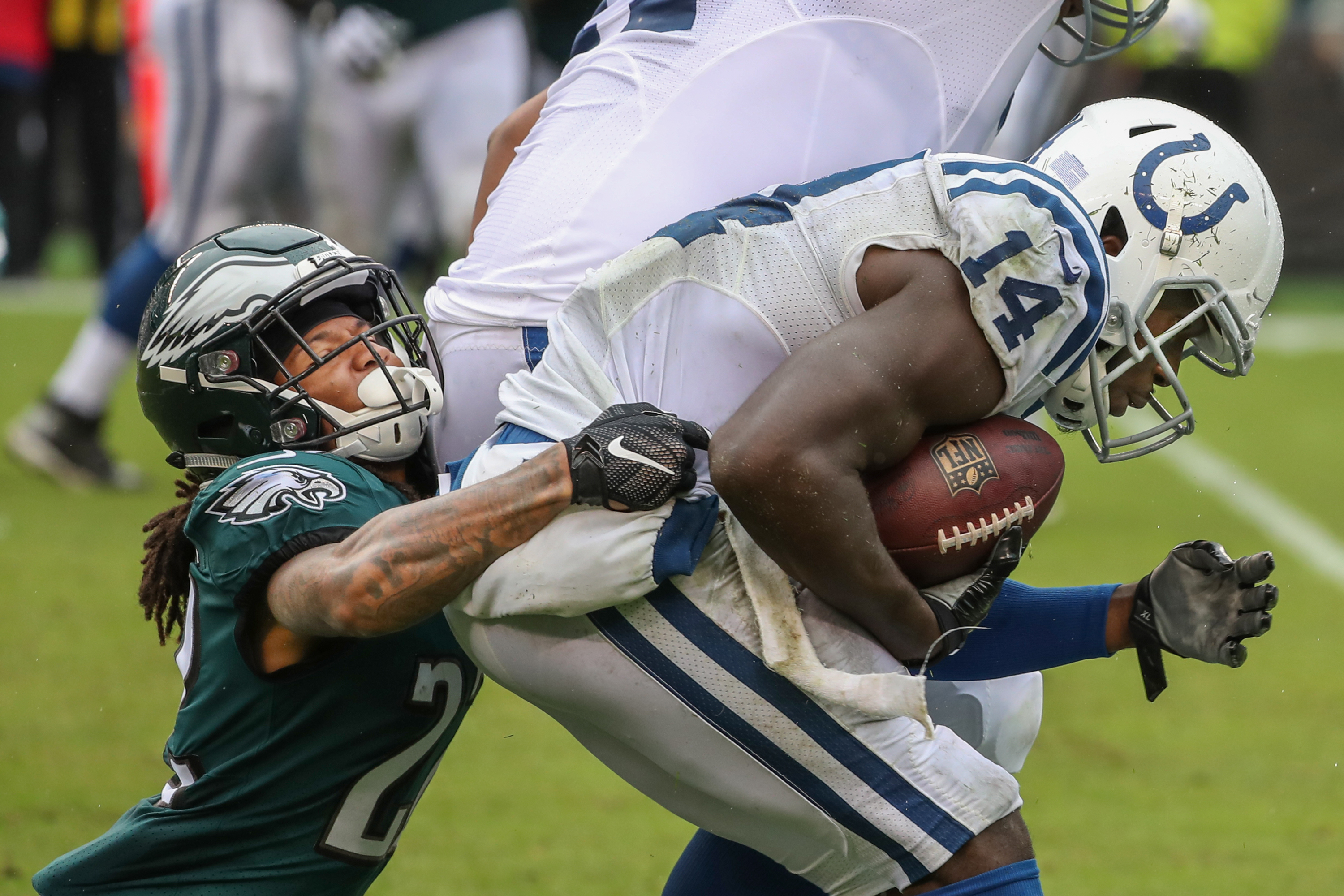 Sidney Jones takes down Colts running back Zach Pascal in the third quarter.