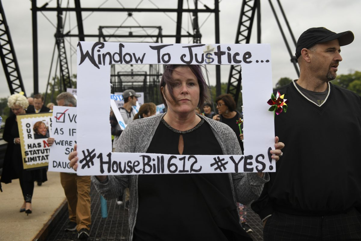 Kelly Williams was among scores of child sexual abuse victim advocates to march ahead of a vote Monday in the Pennsylvania House of Representatives.