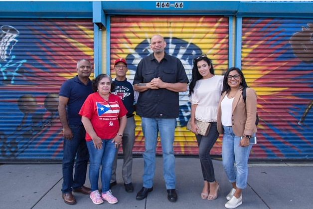 John Fetterman, the Democratic candidate for lieutenant governor, was touring Kensington on Saturday with his wife, Gisele (second from right), and neighborhood activists, as a spike of overdoses hit the neighborhood.