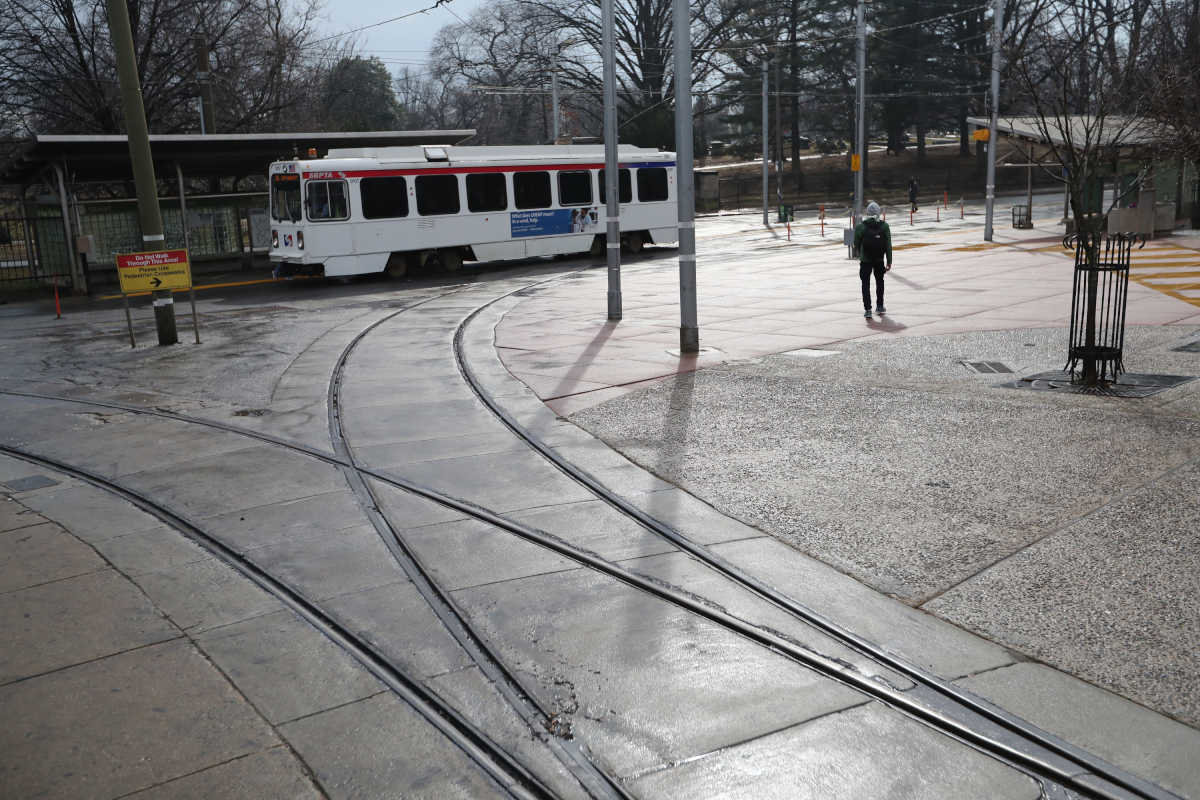 The 40th Street Trolley Portal was bleak concrete plateau before the University City District landscaped the space.