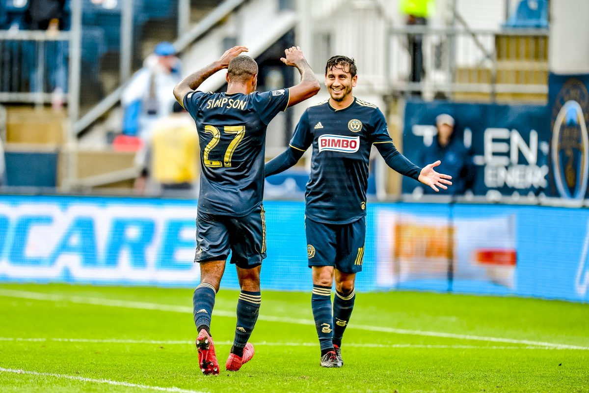 Alejandro Bedoya (right) celebrates with Jay Simpson after one of Simpson�s goals for the Philadelphia Union against Sporting Kansas City.