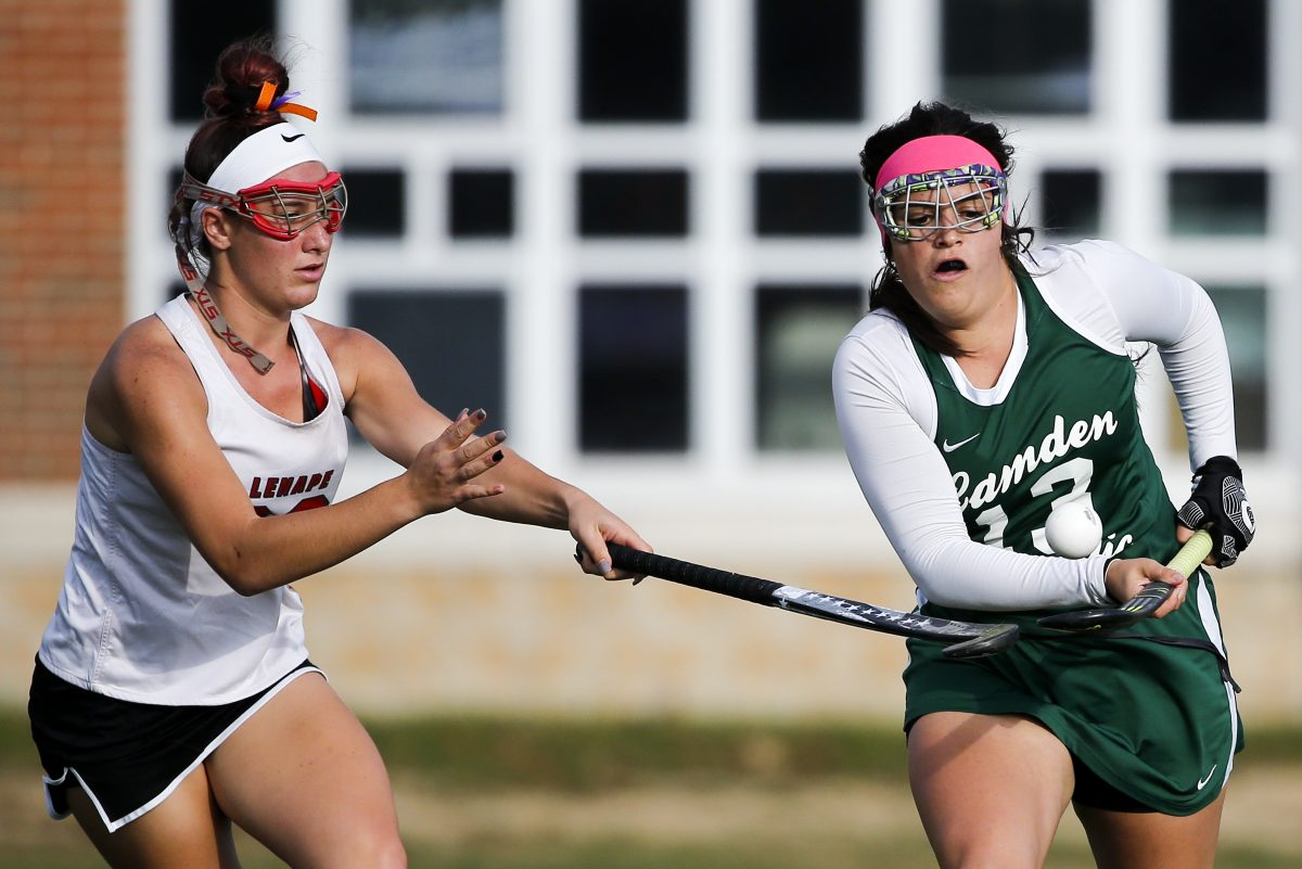 Camden Catholic's Julia Patrone (right), pictured in a game against Lenape last October, had a trick in Mondays 8-3 win against Cherokee.