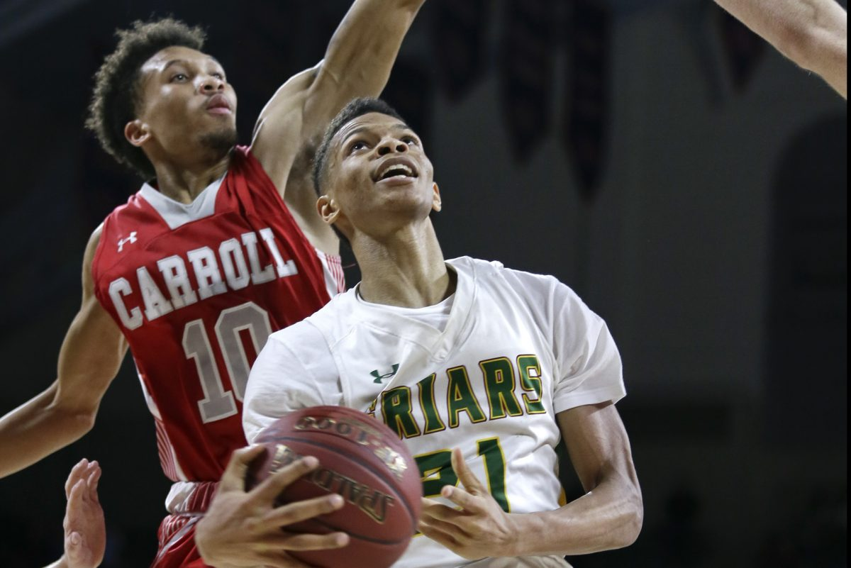 Bonner-Prendergast's Isaiah Wong (right), pictured during the PIAA Class 5A quarterfinal against Archbishop Carroll back in February, will announce his college choice on Wednesday.