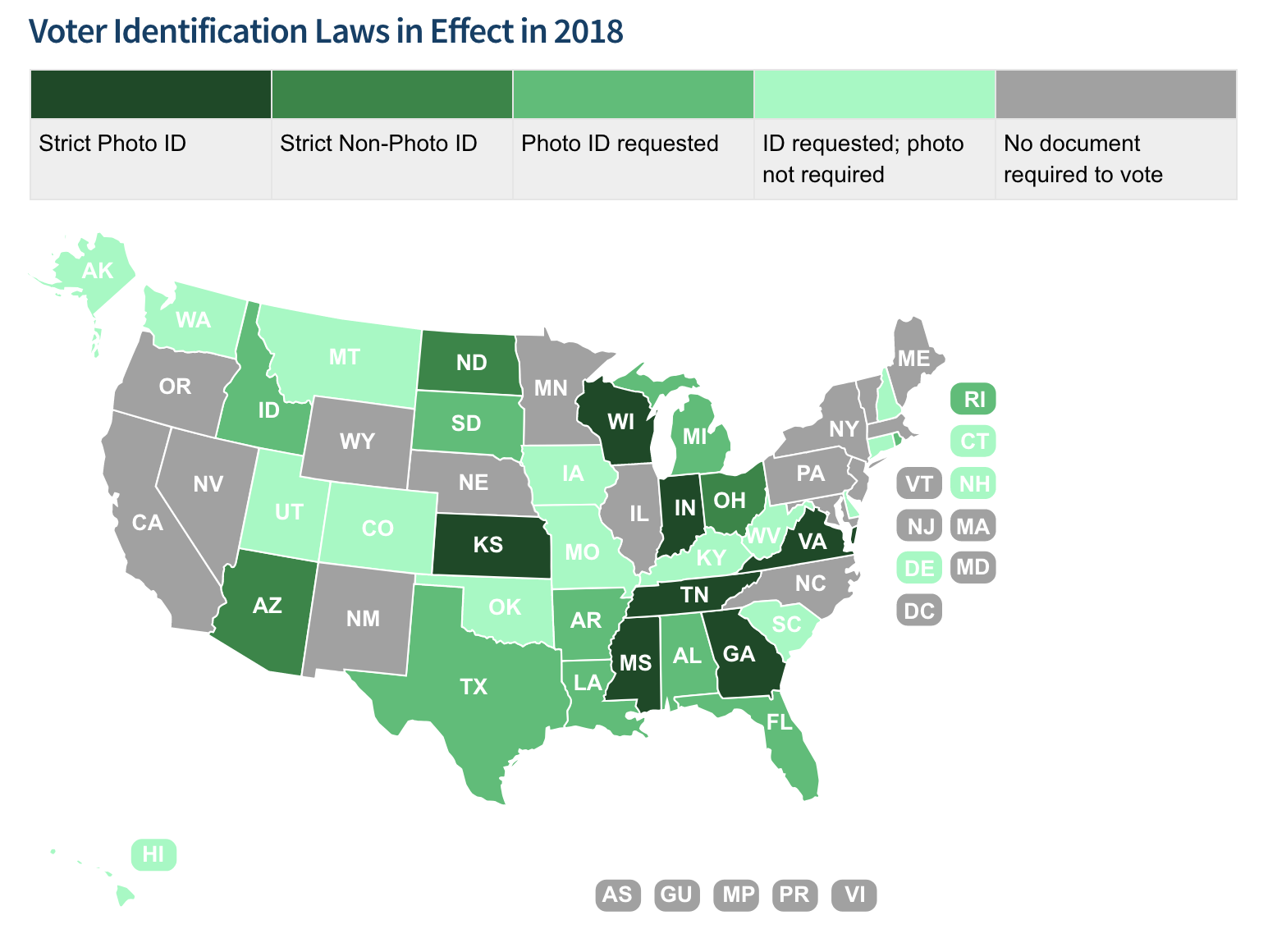 Voter identification laws map