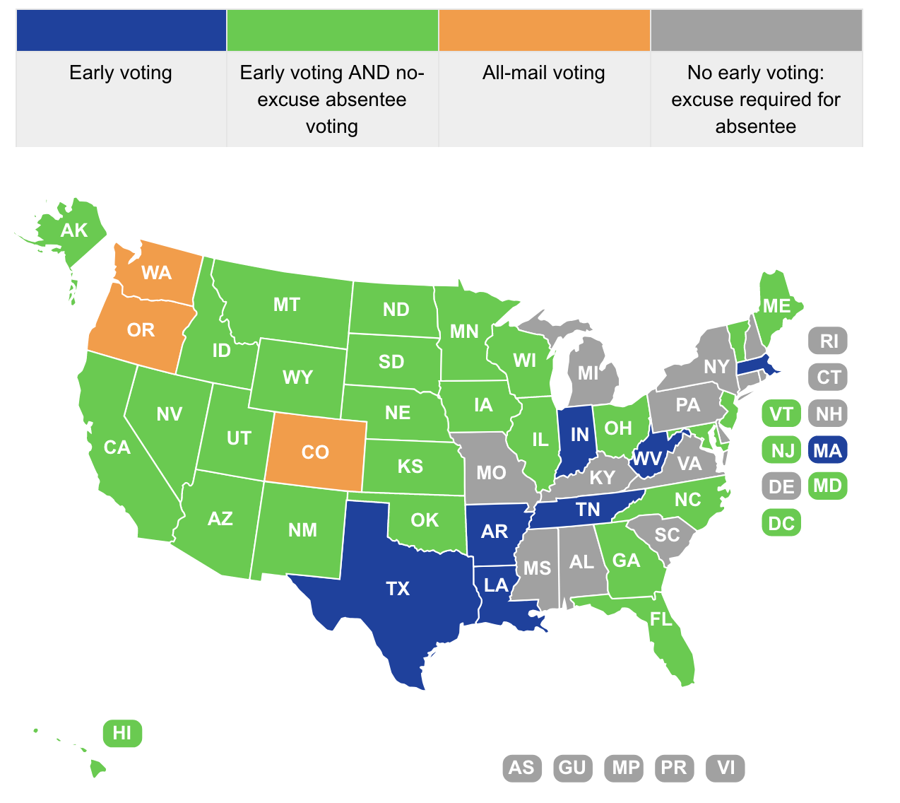 Absentee and early voting map.