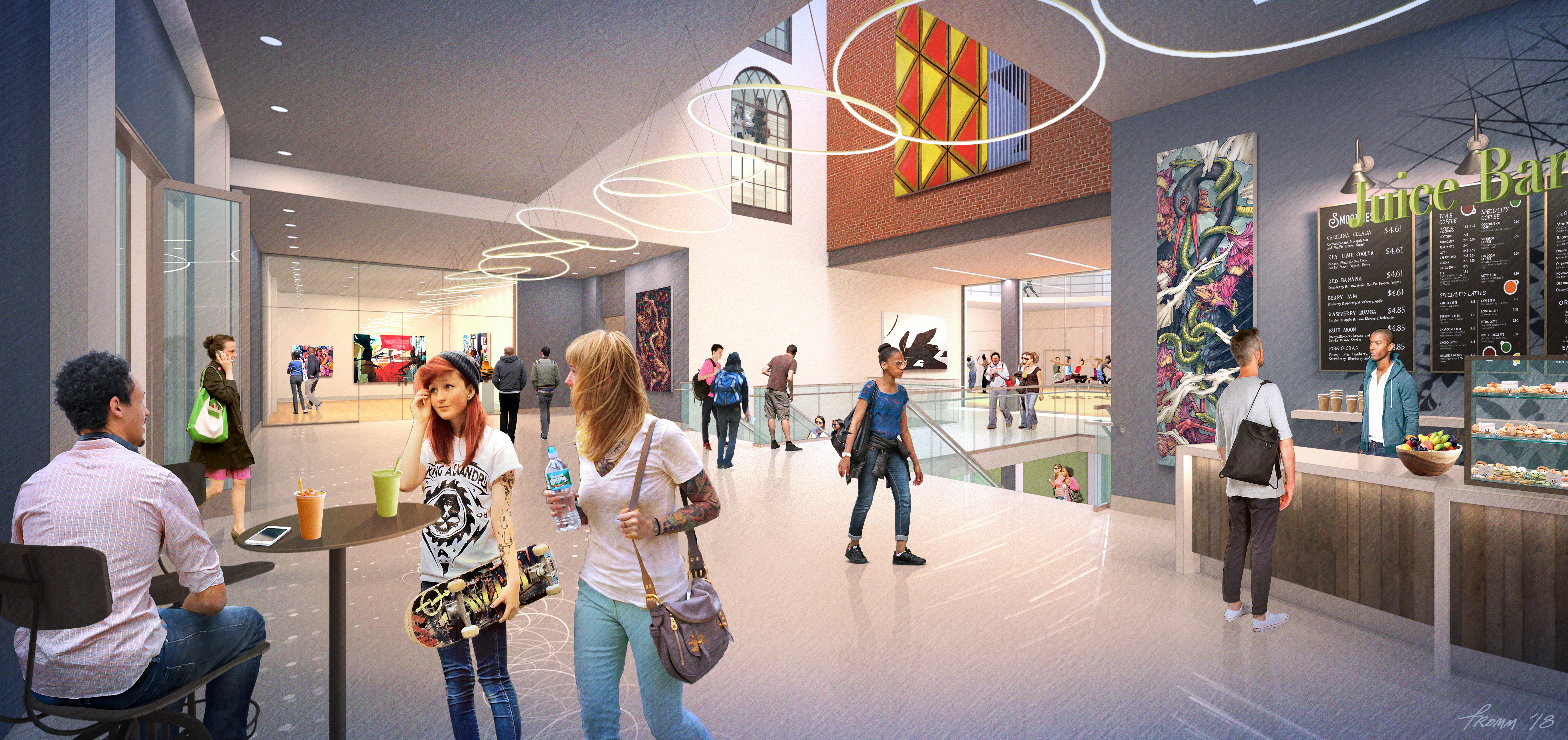Architectural rendering of renovations to the University of the Arts´ Gershman Y lobby.