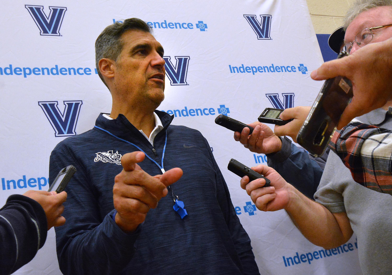 Villanova Basketball Coach Jay Wright talks with the media after a practice at Villanova University on Tuesday September 25,2018. MARK C PSORAS/For the Inquirer