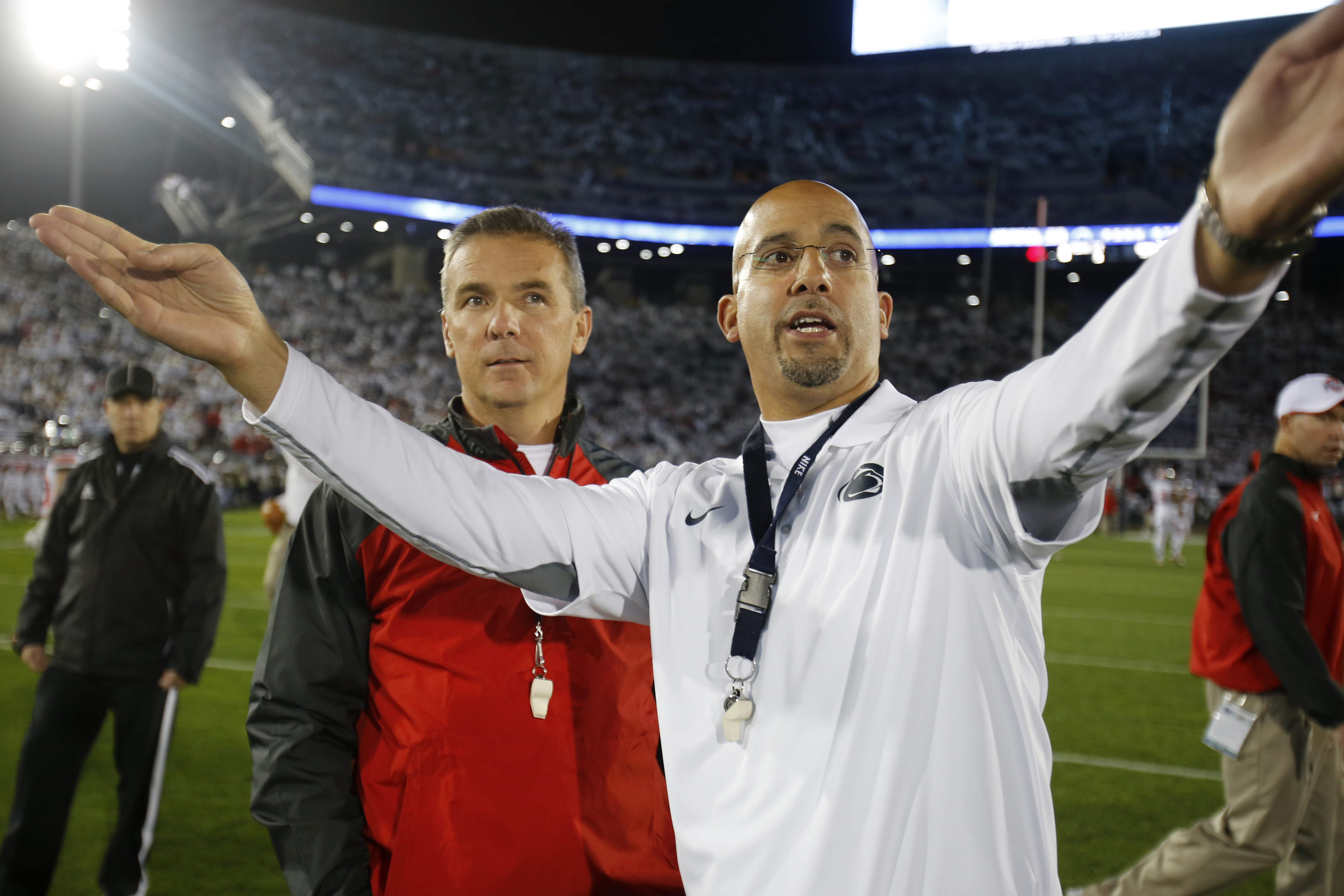 In October 2014, Penn State coach James Franklin, right, showed Ohio State coach Urban Meyer the student section of Beaver Stadium before the teams played.
