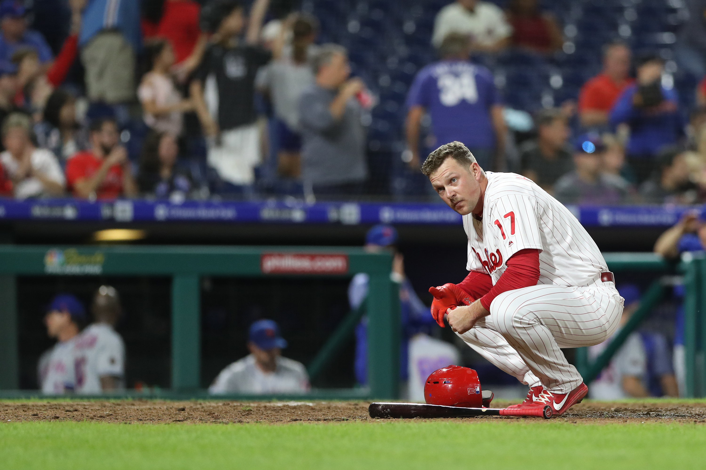 Phillies� slugger Rhys Hoskins kneels after striking out against the Mets on Sept. 18.