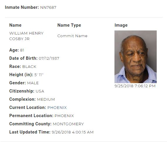 Bill Cosby�s booking information with the Pennsylvania Department of Corrections.