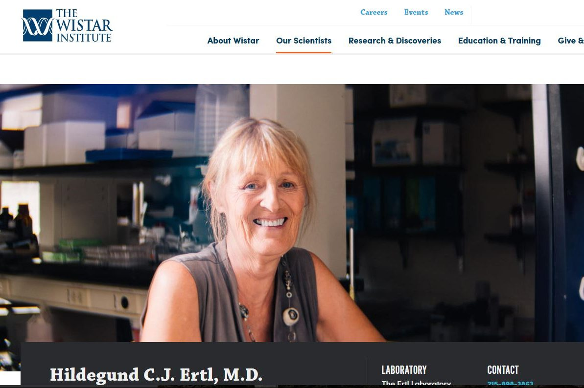 Hildegund C.J. Ertl, shown on her web page at the Wistar Institute, has cofounded Virion Therapeutics LLC.