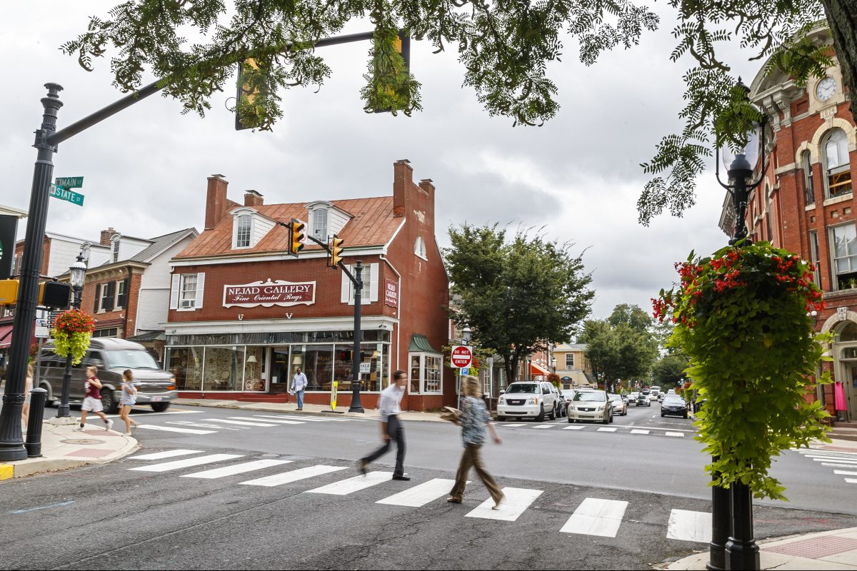 The intersection of State Street and Main Street in downtown Doylestown Borough, which fought Crown Castle and Verizon over small antennas. A new rule at the Federal Communications Commission would take away many local zoning powers over the placement of those antennas. There will be an estimated 800,000 new antennas by 2026 in the United States.