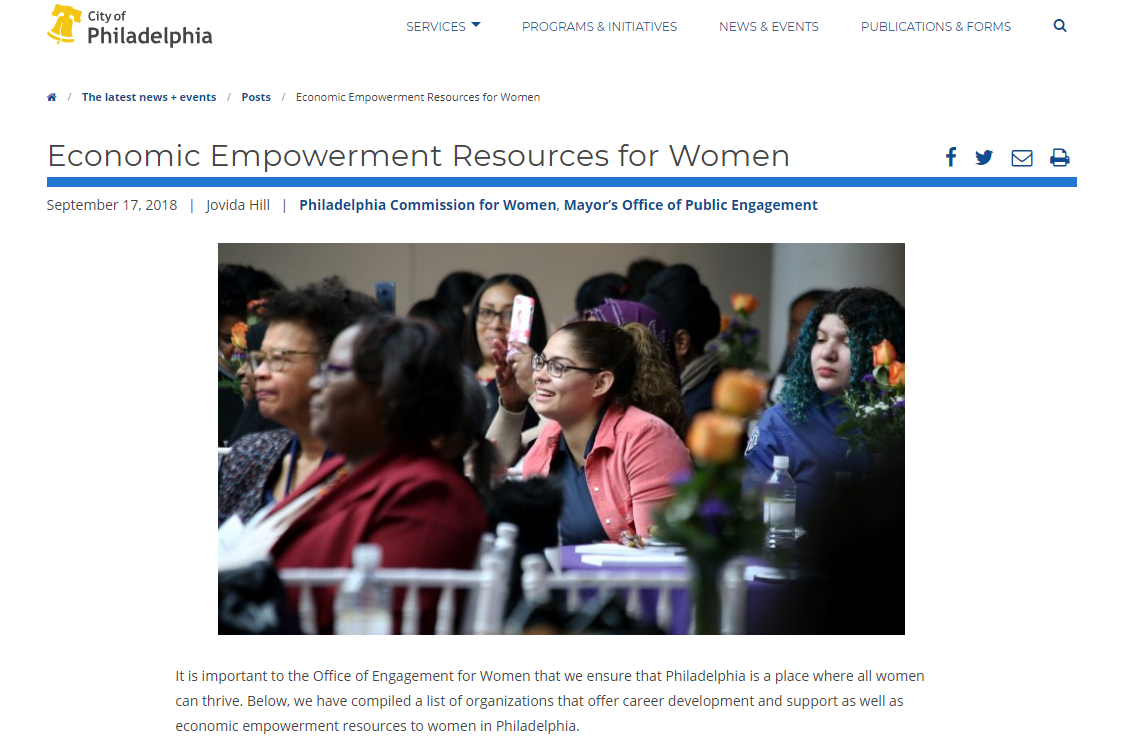 Screenshot of one of the four online resource guides Philadelphia posted online specifically for women. The others list groups related to education; health and wellness; and leadership and civil engagements.