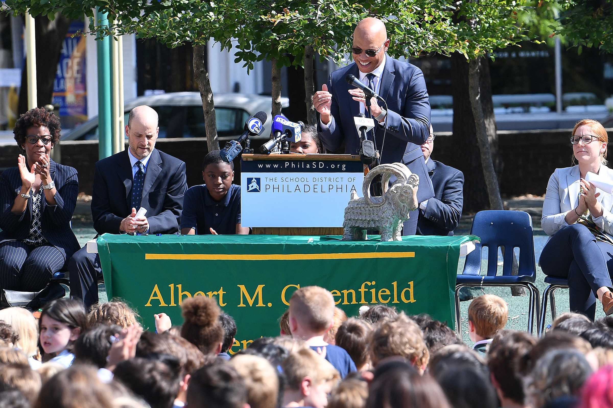 Superintendent William R. Hite Jr., speaks at the podium during a Blue Ribbon list celebration at the Greenfield Elementary School in Philadelphia.
