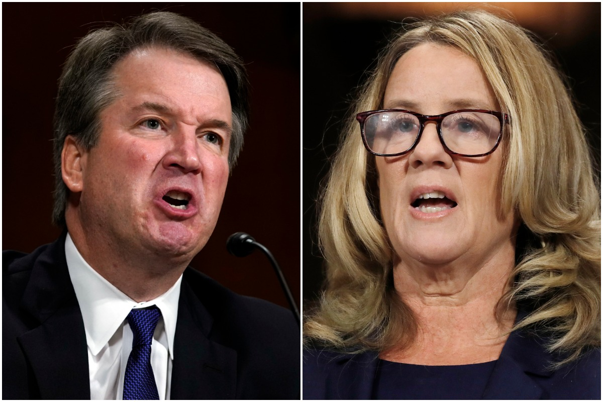 Brett Kavanaugh, left, and Christine Blase Ford during their testimony before the Senate Judiciary Committee on Sept. 27, 2018. (ANDREW HARNIK / AP; JIM BOURG / Abaca Press)