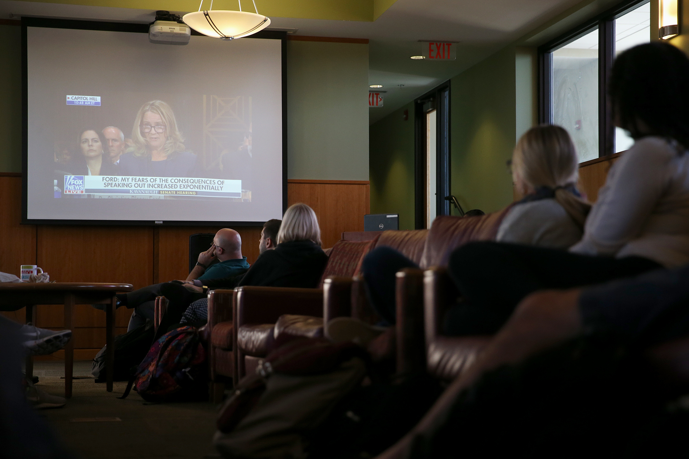 Students and faculty at Rutgers School of Law in Camden, N.J., watch Christine Blasey Ford testify before the Senate Judiciary Committee about her allegation that Supreme Court nominee Brett Kavanaugh sexual assaulted her, Thursday, Sept. 27, 2018.