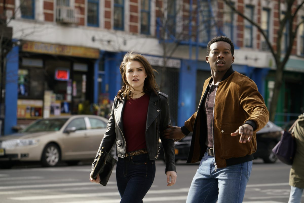"""stars Brandon Micheal Hall in a humorous, uplifting drama about Miles Finer (Hall), an outspoken atheist whose life is turned upside down when he receives a friend request on social media from God and unwittingly becomes an agent of change in the lives and destinies of others around him. GOD FRIENDED ME will premiere this fall on Sunday, Sept. 30, 8:30-9:30 PM ET/PT on the CBS Television Violett Beane and Brandon Micheal Hall in a scene from CBS's """"God Friended Me"""""""