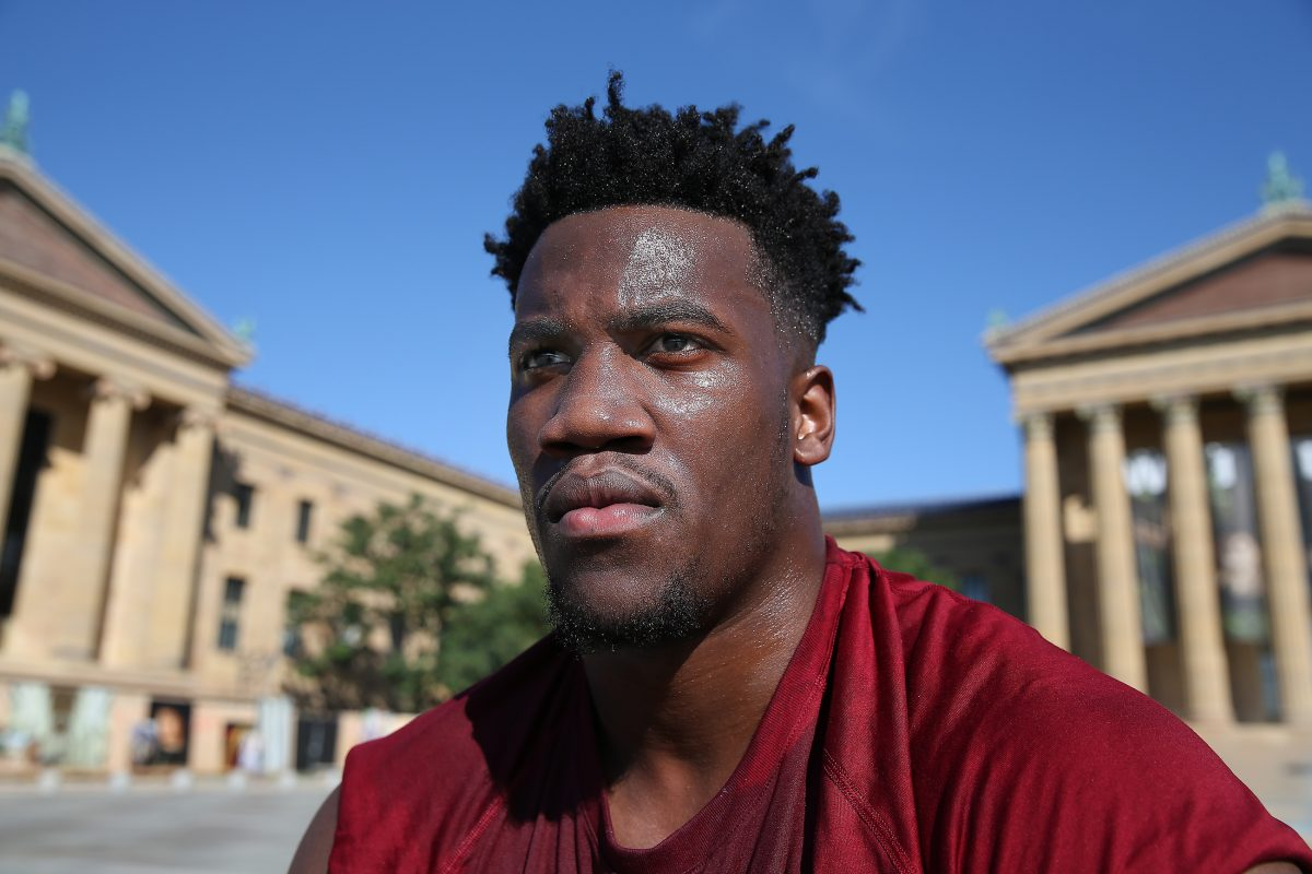 Temple senior DL Jacob Martin pauses after the Owls worked out on the Art Museum steps in Philadelphia on June 28.