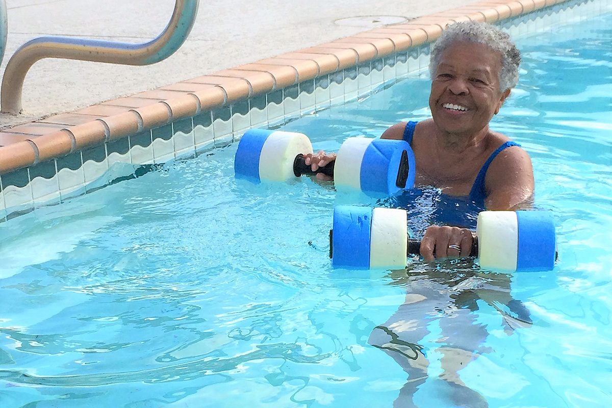 Wilhelmina Delco, who turns 88 in July, exercises five days a week in a pool near her home in Austin, Texas.