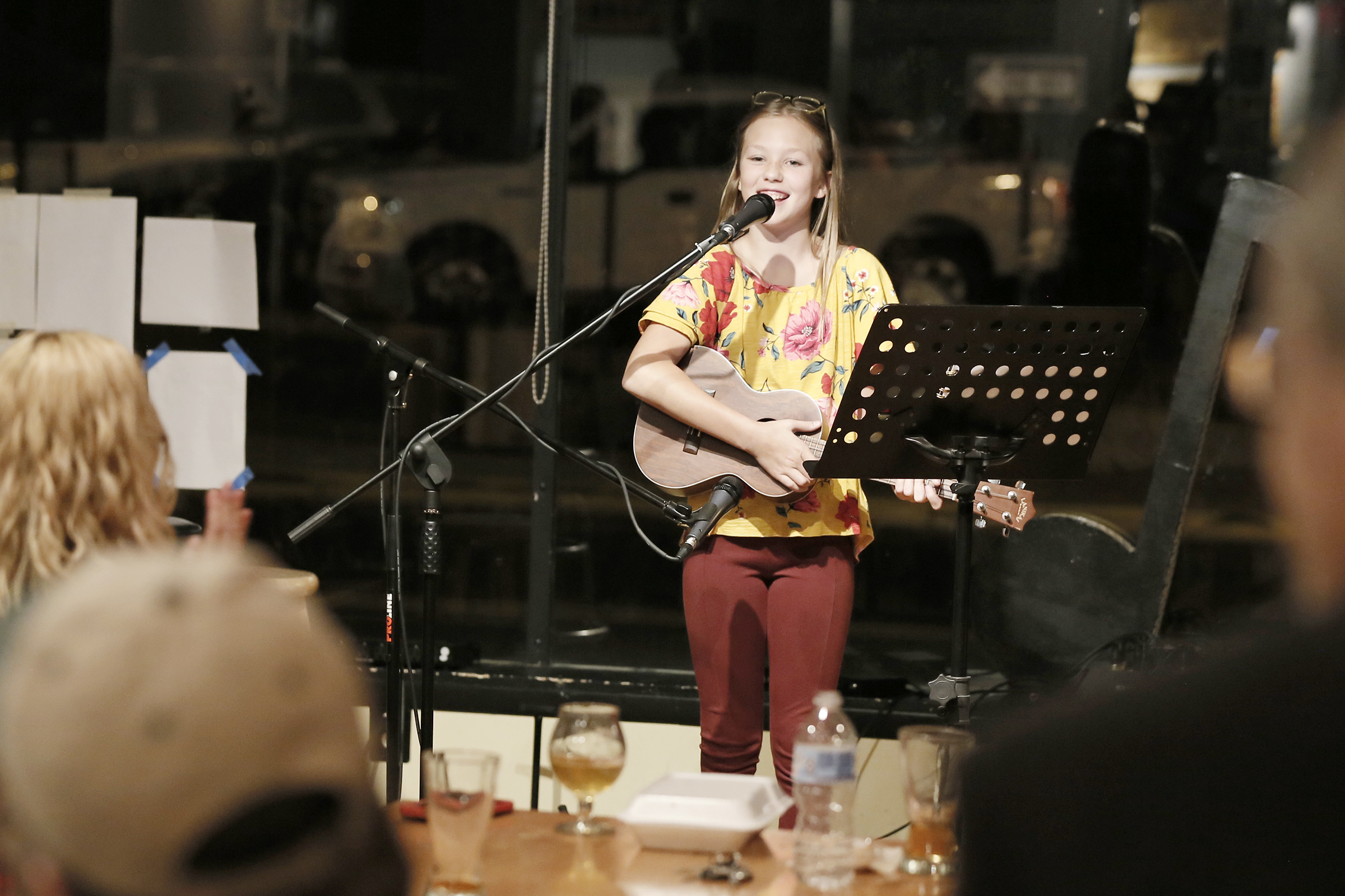 Caroline Smith, 11, of Washington Township, NJ performs during open mic night at Human Village Brewing Co. in Pitman on September 28