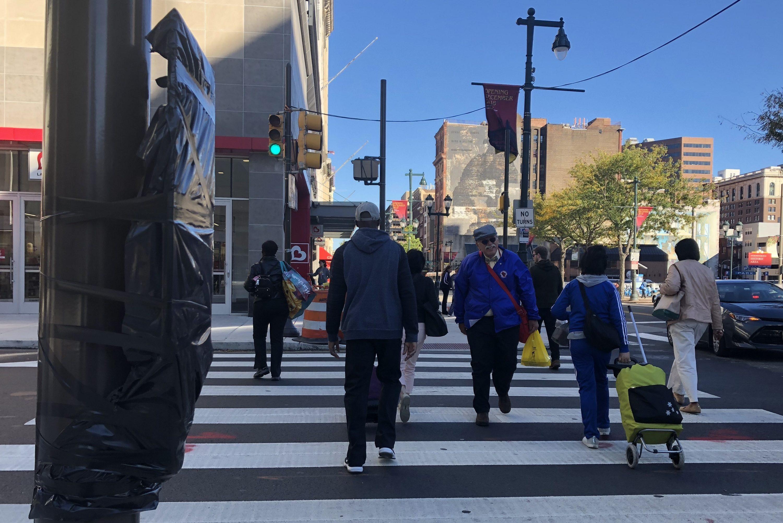 Philadelphia is installing pedestrian signals on Market Street.