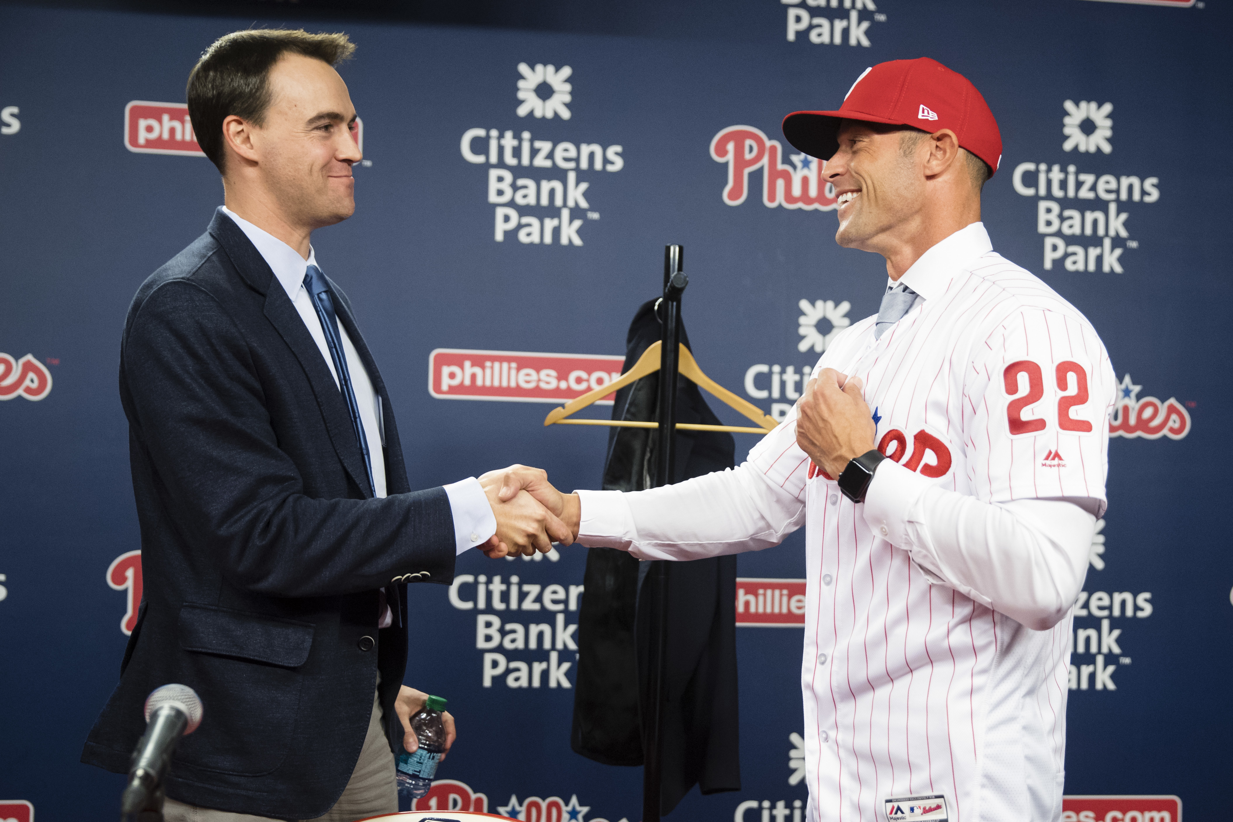 General manager Matt Klentak (left) hired Gabe Kapler to manage the Phillies because the organization wanted to do things differently than ever before.