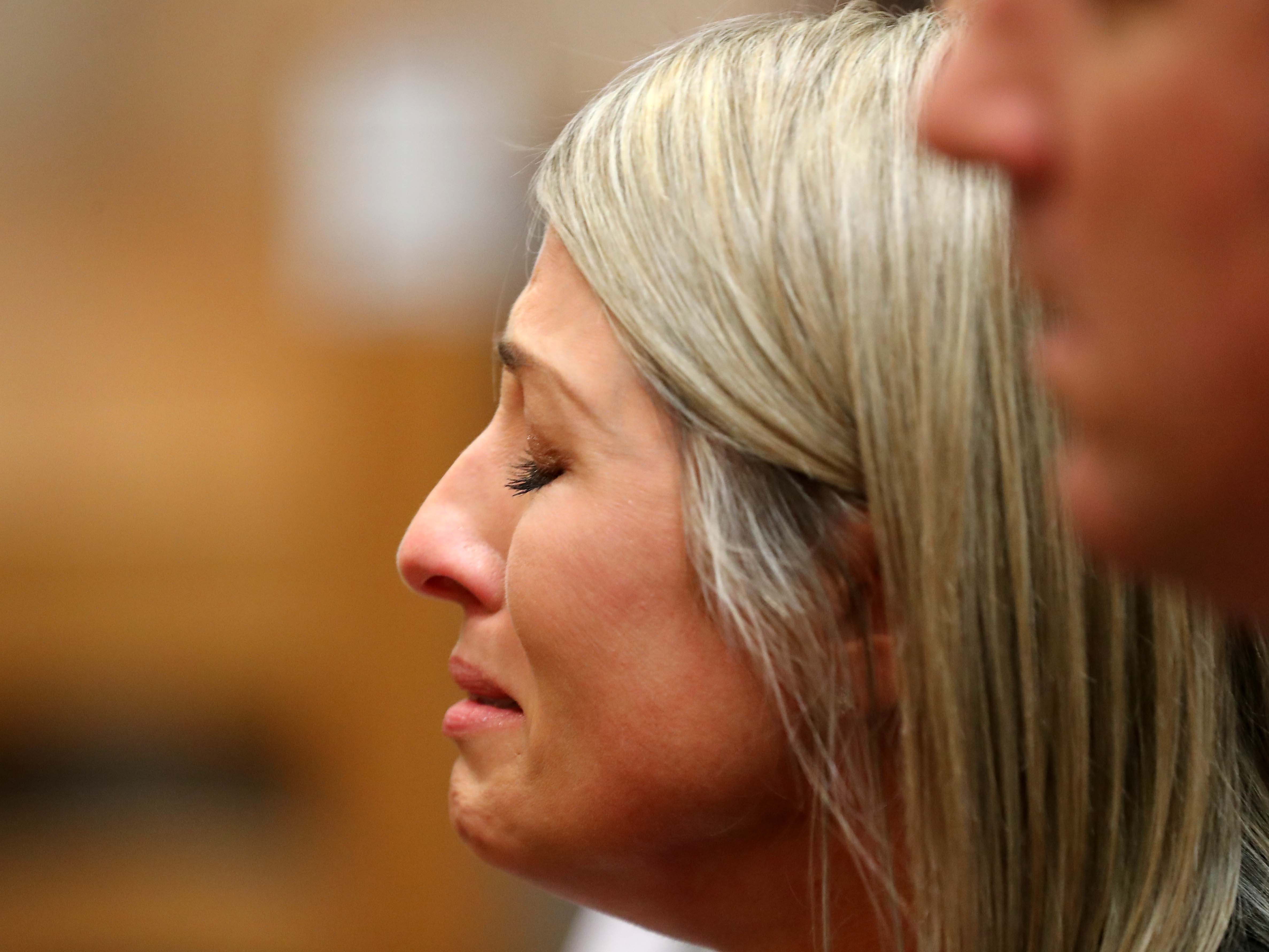 """Kim Pack, daughter April Kaufman was emotional after a jury of five men and seven women have found Ferdinand """"Freddy"""" Augello guilty of racketeering, leader of a drug trafficking network, distribution of CDS, conspiracy to distribute CDS, murder and conspiracy to commit murder. Oct. 2, 2018, 2018Please Credit: Craig Matthews/ Press of Atlantic City"""