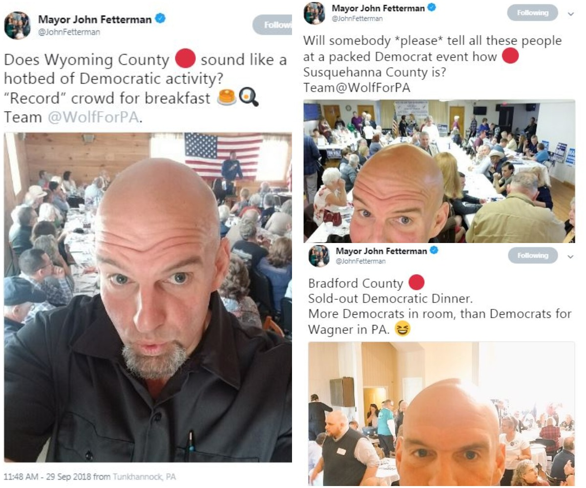John Fetterman, mayor of Braddock and the Democratic nominee for lieutenant governor in Pennsylvania, uses Twitter to document what he sees as party enthusiasm in rural, Republican controlled counties.