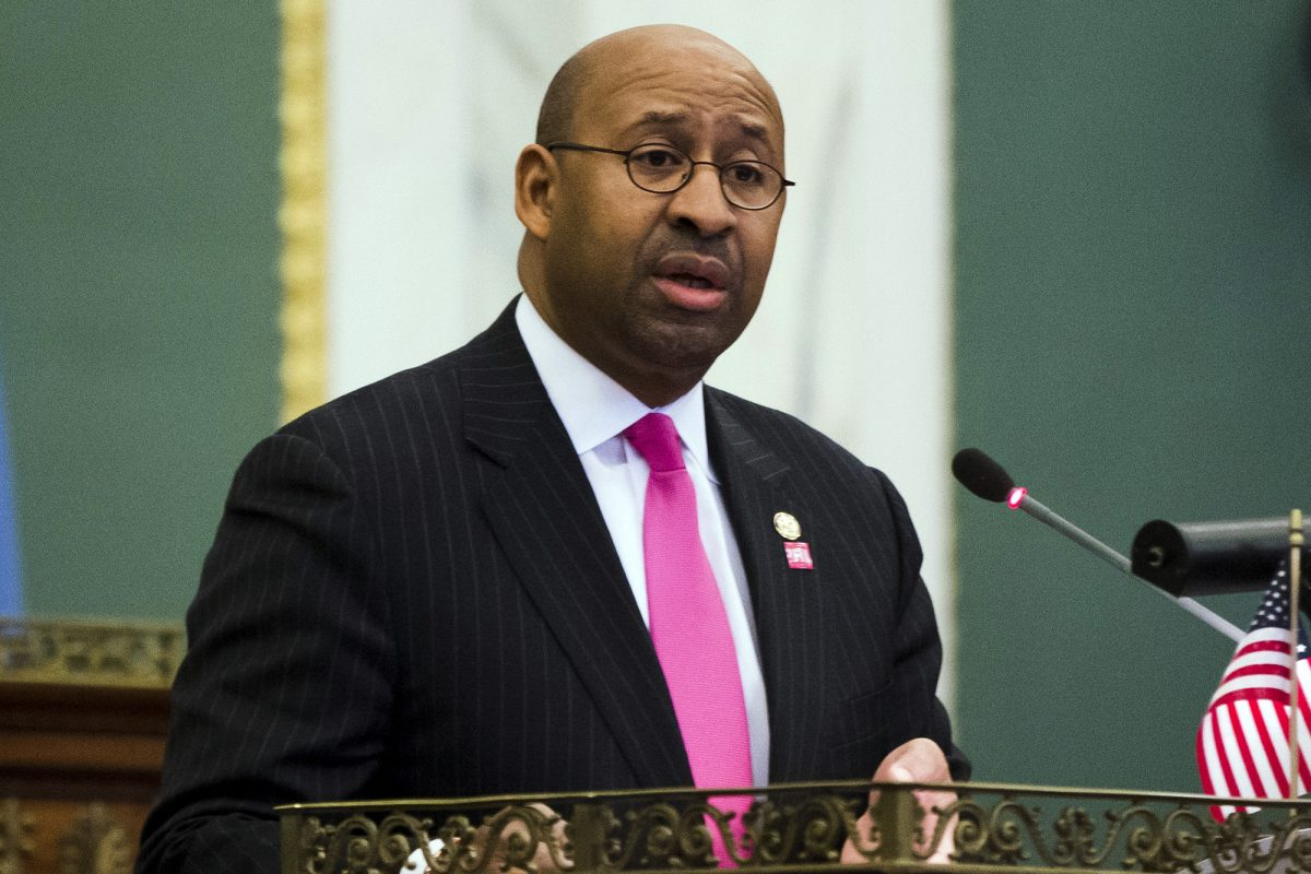 Michael Nutter, shown here delivering his budget address as mayor in 2014, now is working for an insurance startup.