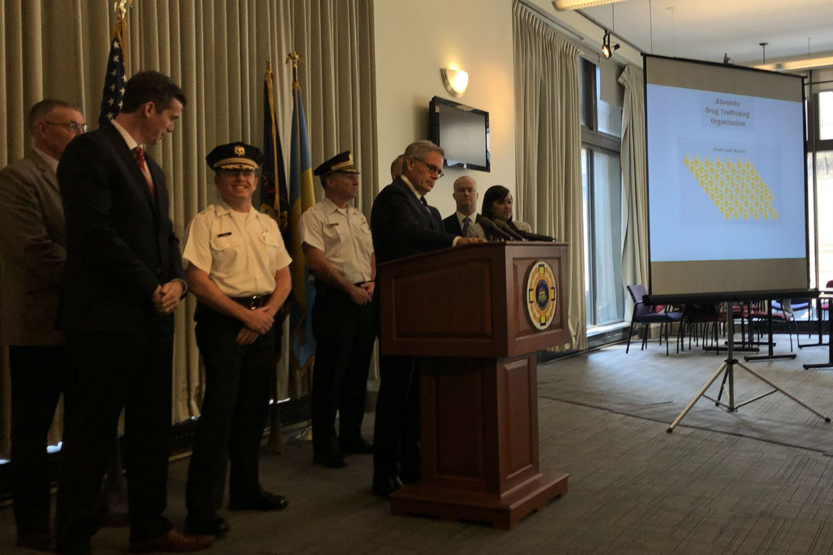 Philadelphia District Attorney Larry Krasner presents the results of his office´s major drug investigation at a press conference Thursday.
