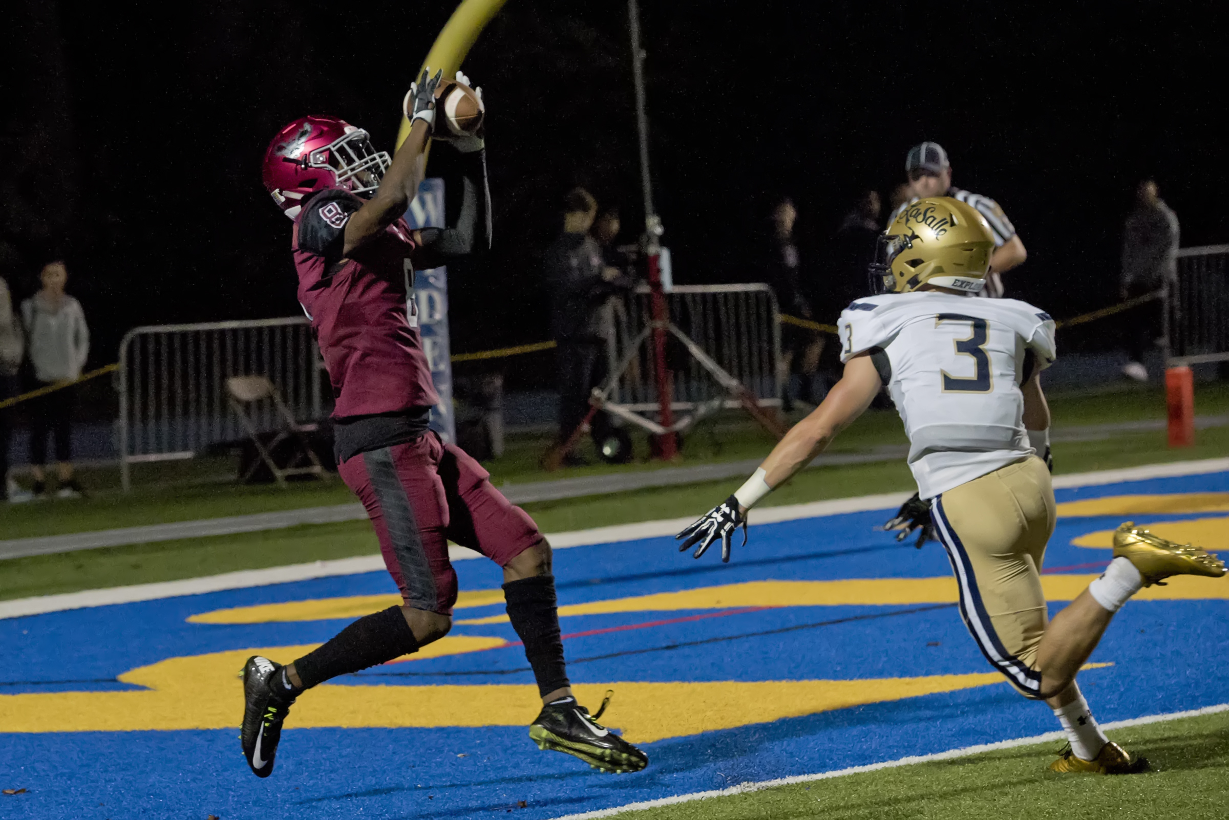 St. Joseph´s Prep sophomore Marvin Harrison makes a first-half touchdown catch in last Friday´s 49-12 win over La Salle.