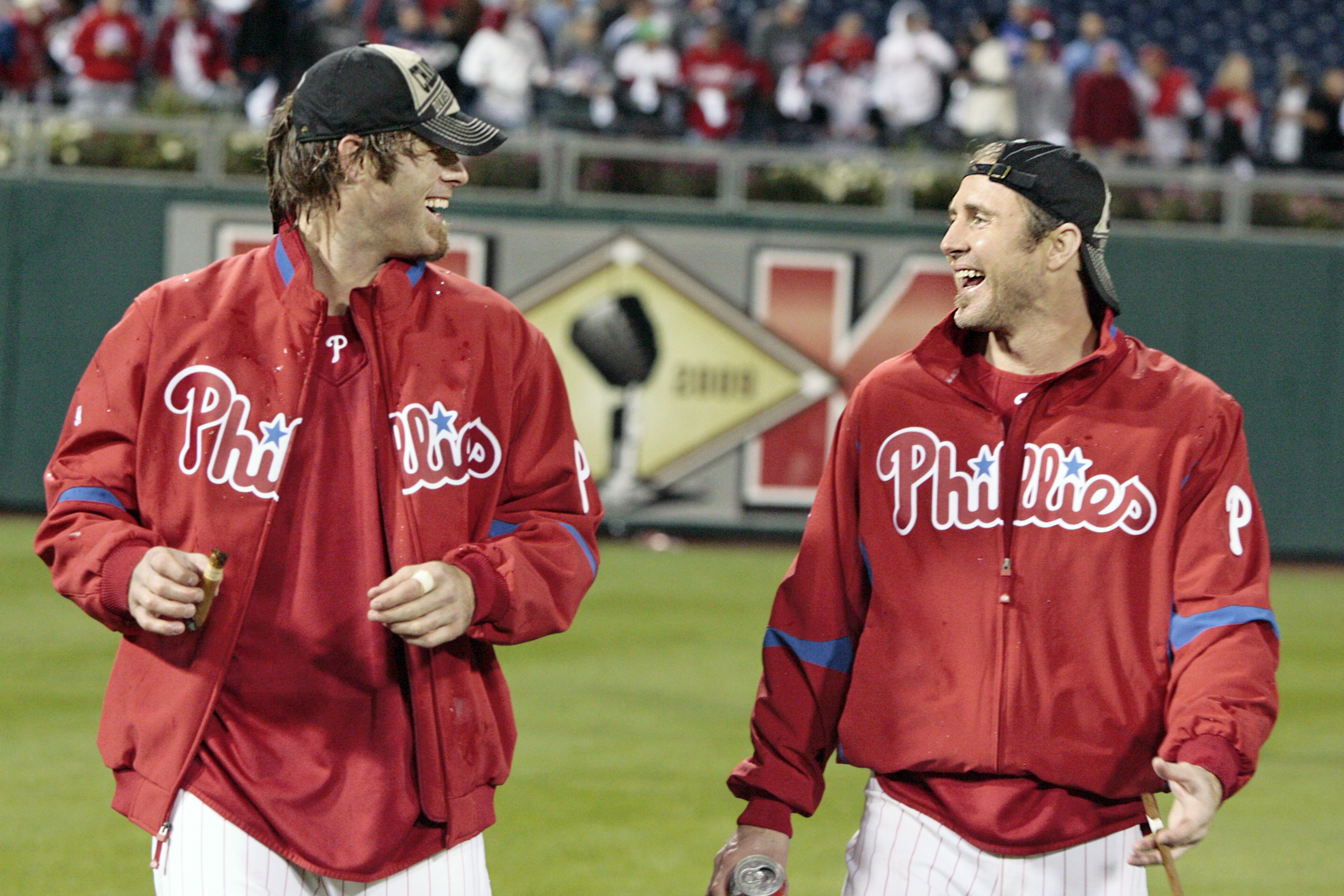 Jayson Werth and Chase Utley celebrating after winning the N.L. East division title in 2009.