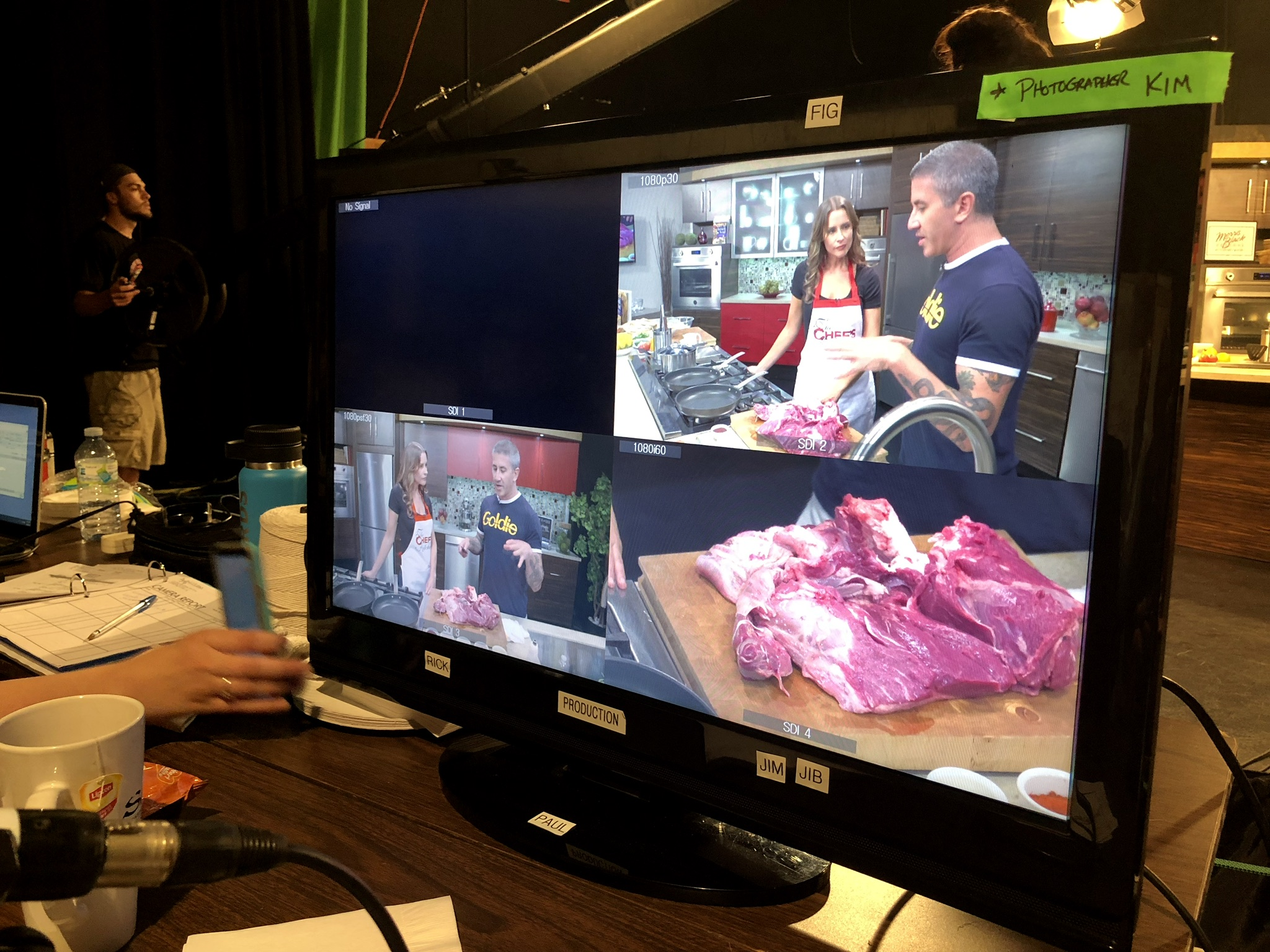 "Mike Solomonov shoots an episode of ""The Chef's Kitchen"" with host Nicole Gaffney and producer Steven Horn at the PBS station in Bethlehem."