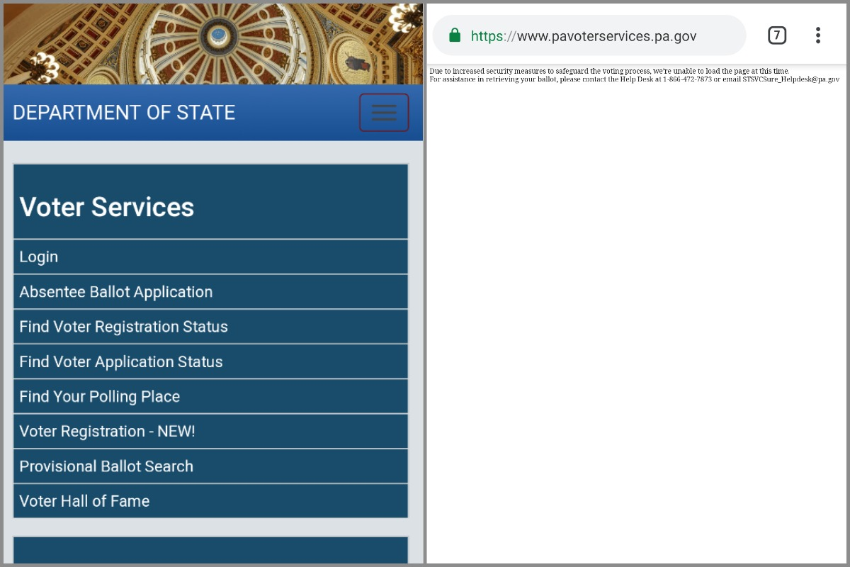On left, the state voter services page when viewed on a cell phone in the United States. On right, what that same page calls up when viewed abroad.