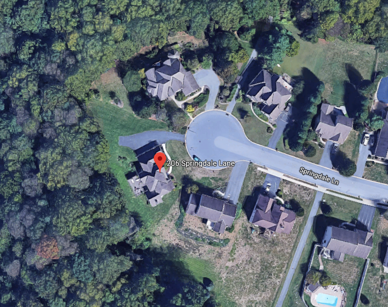 A satellite photograph of 206 Springdale Lane before a 2017 gas explosion leveled the house. Four other houses were damaged in the blast.