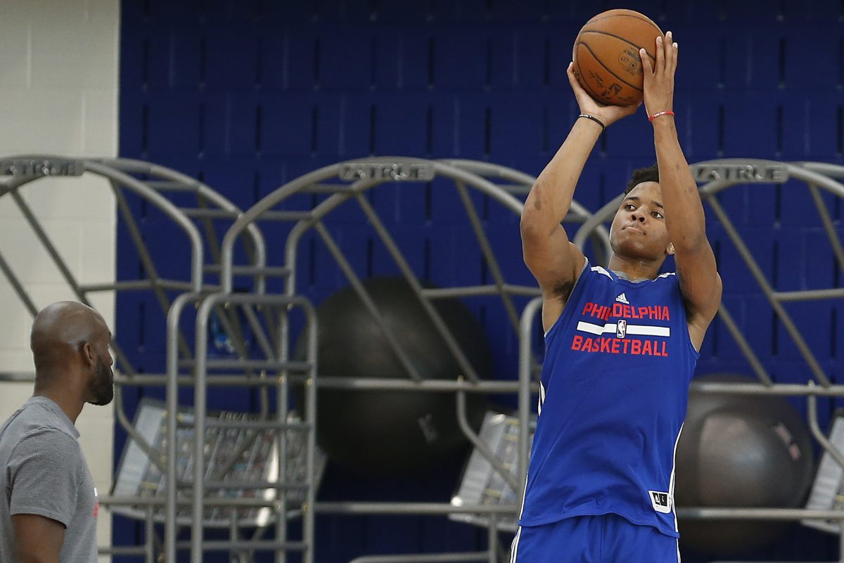 Markelle Fultz takes a shot at the Philadelphia 76ers mini-camp at training complex in Camden, NJ on June 30, 2017.
