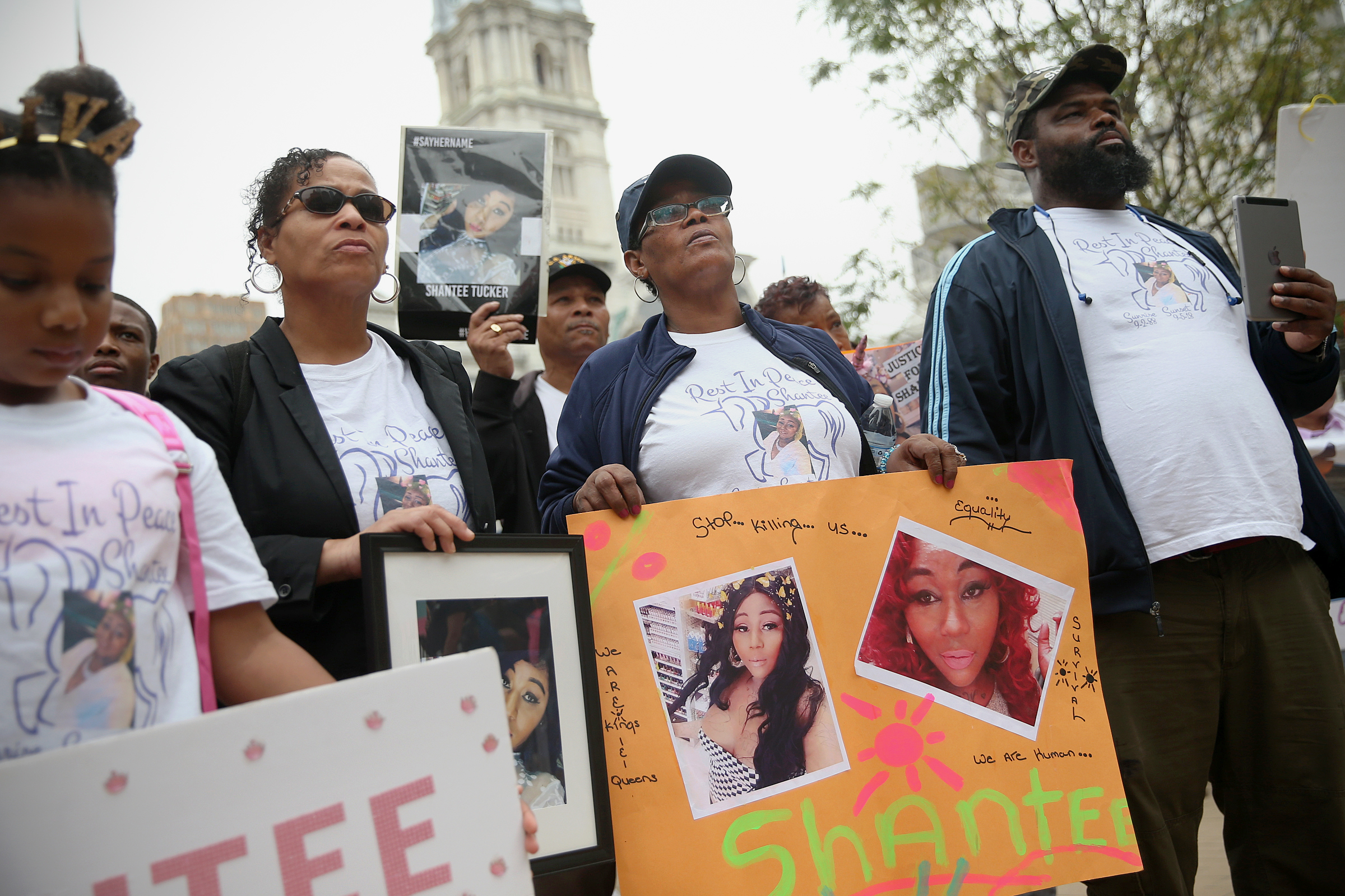Wanda Bibbs, mother of Shantee Tucker, second from right, holds a poster in remembrance of Tucker during the eighth annual Philly Trans March at Love Park in Center City Philadelphia on Saturday, Oct. 6, 2018. Tucker was a trans woman killed near Hunting Park in September.