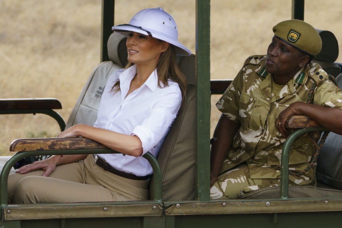 First lady Melania Trump looks out over Nairobi National Park in Nairobi, Kenya, Friday, Oct. 5.