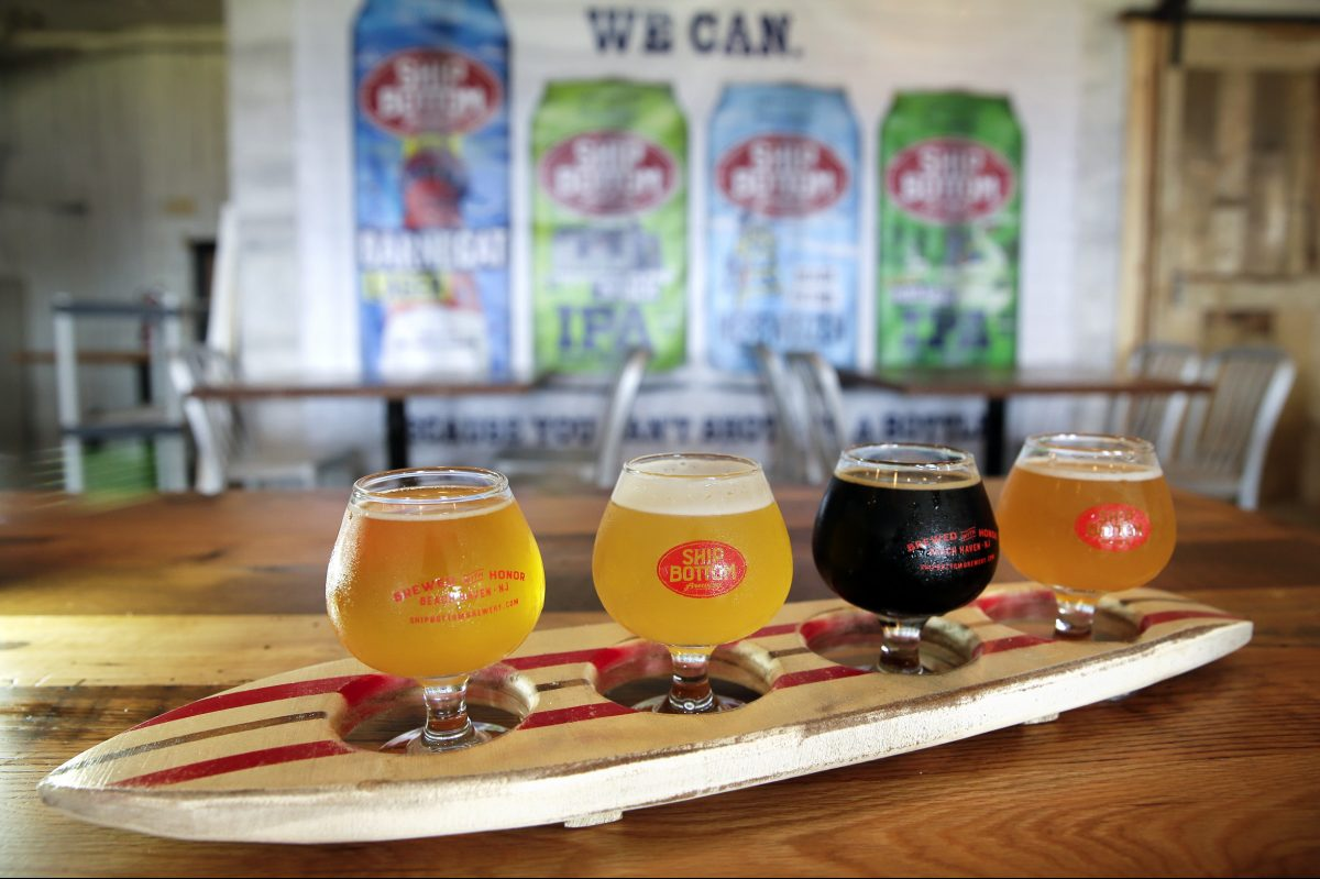 A surfboard flight at Ship Bottom Brewery in Beach Haven offers (from left)  the Cerveza del Playa, Hefe-Nitro, Barnacle Bottom Stout, Stupid Paddle Boat.