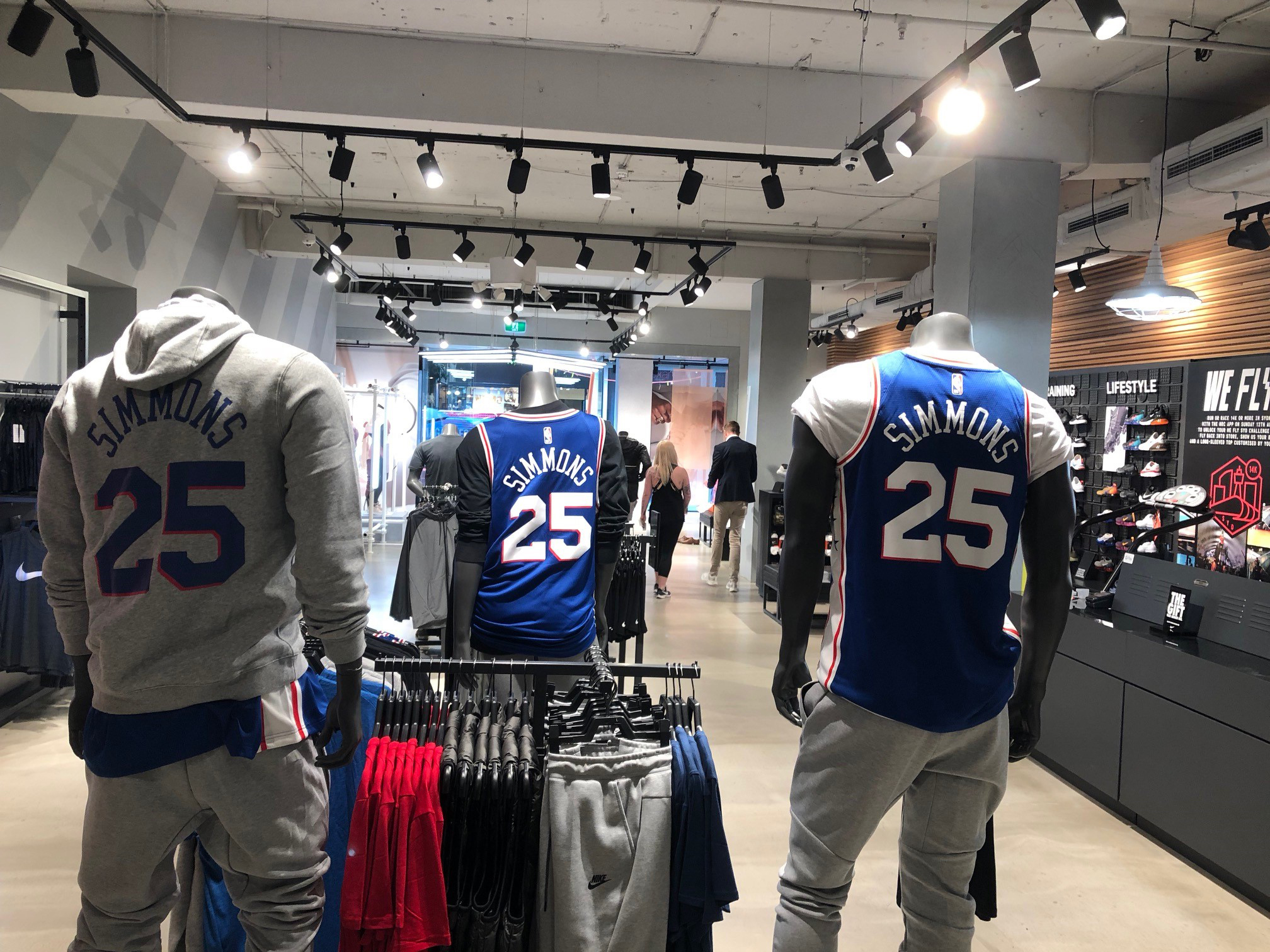 Native Australian Ben Simmons has his Sixers gear prominently displayed at a Nike store in Sydney.