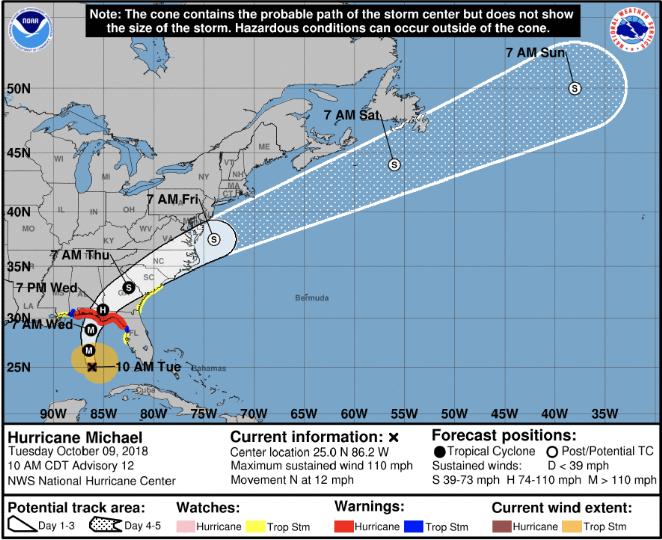National Hurricane Center Hurricane Michael map
