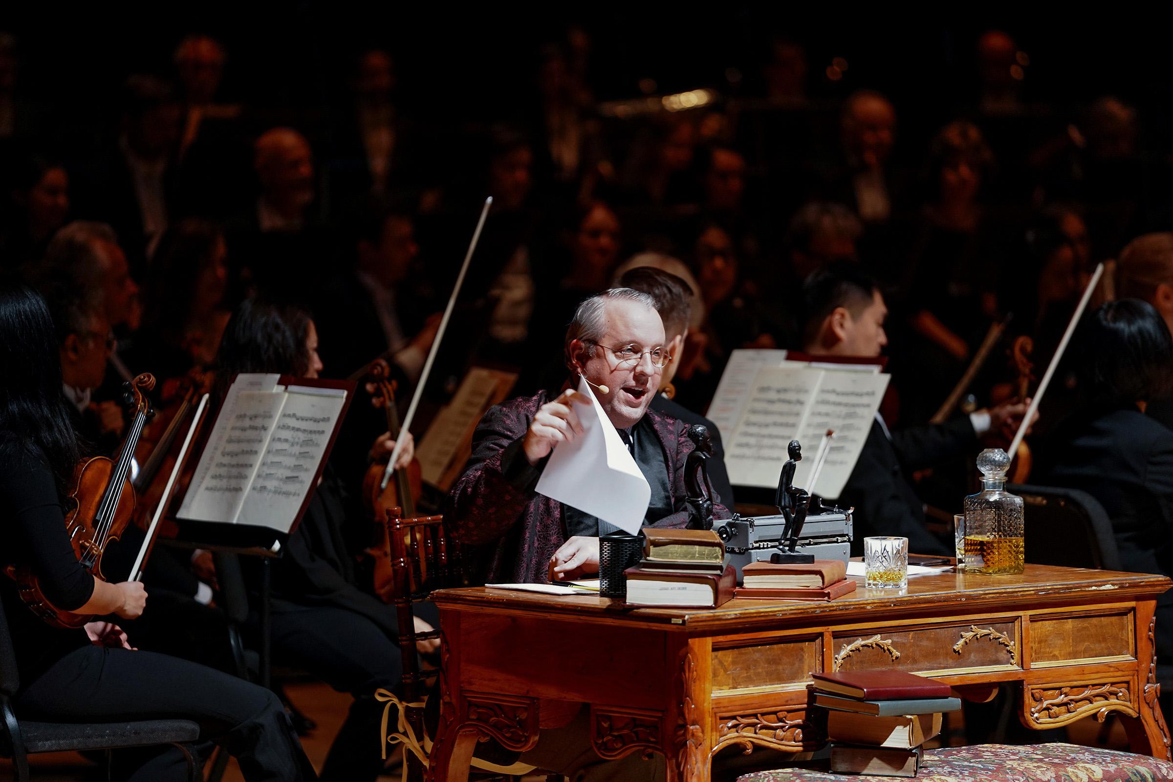 David Bardeen as Albert C. Barnes with the Philadelphia Orchestra Thursday night in Verizon Hall.