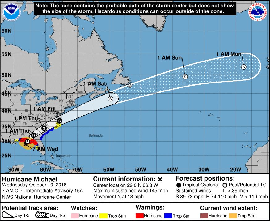 The projected path of Hurricane Michael.