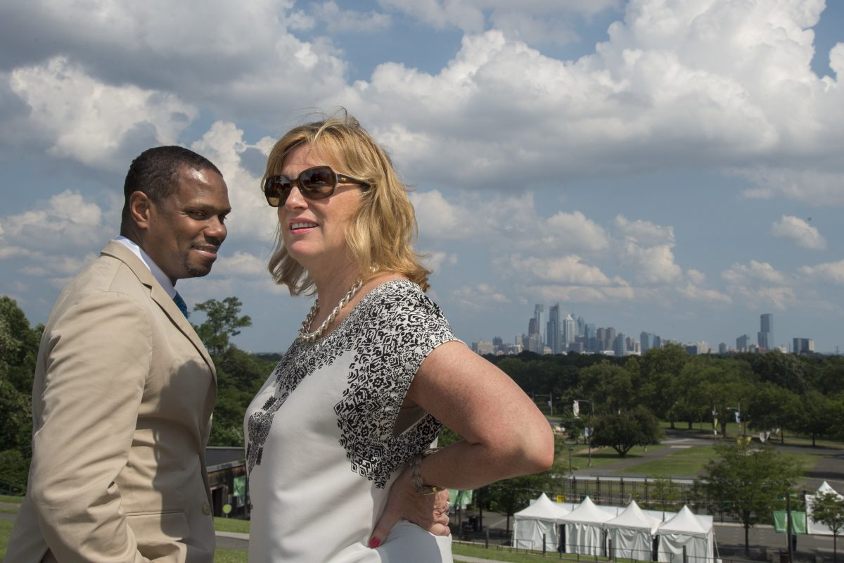 Mann CEO Catherine Cahill and Mann festival artistic director Nolan Williams Jr. at the Center, which overlooks the Philadelphia skyline. The Mann would like to turn itself into an urban Tanglewood, where programming and education are closely tied.