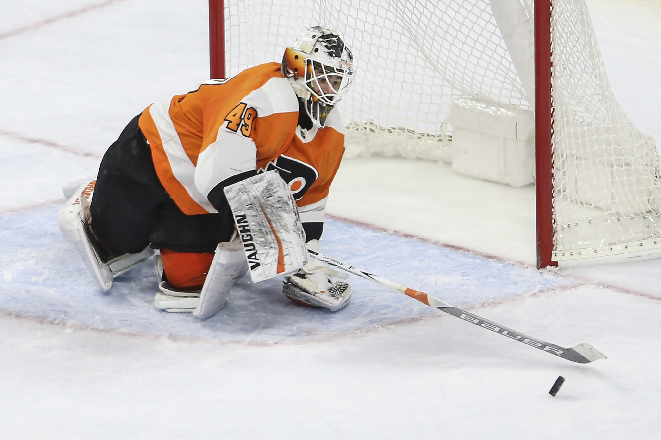 Flyers´ goalie Alex Lyon deflects a shot on goal against the Rangers during the third period at the Wells Fargo Center in Philadelphia, Thursday, March 22, 2018. Flyers beat the Rangers 4-3.