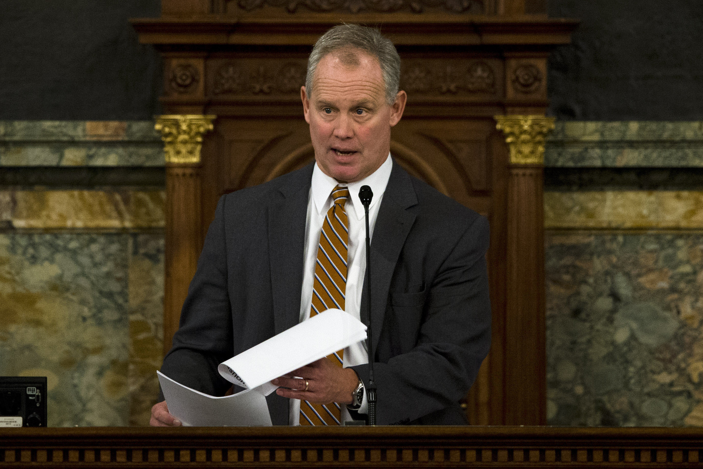 Speaker of the Pennsylvania House of Representatives, Rep. Mike Turzai, R-Allegheny, speaks in December at the state Capitol in Harrisburg.