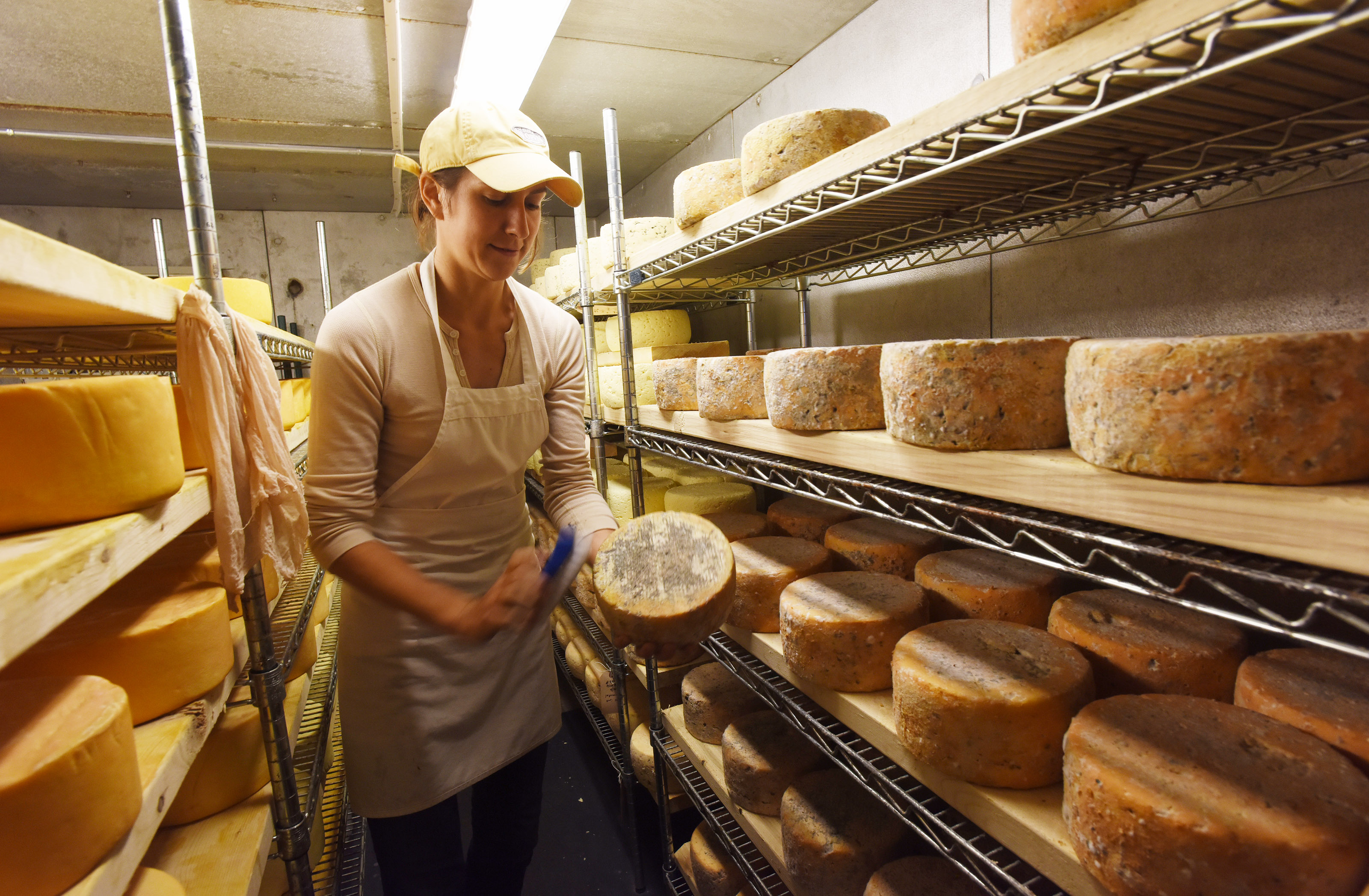 Cheese maker Stefanie Angstadt is at her Oley farm cheese shop.
