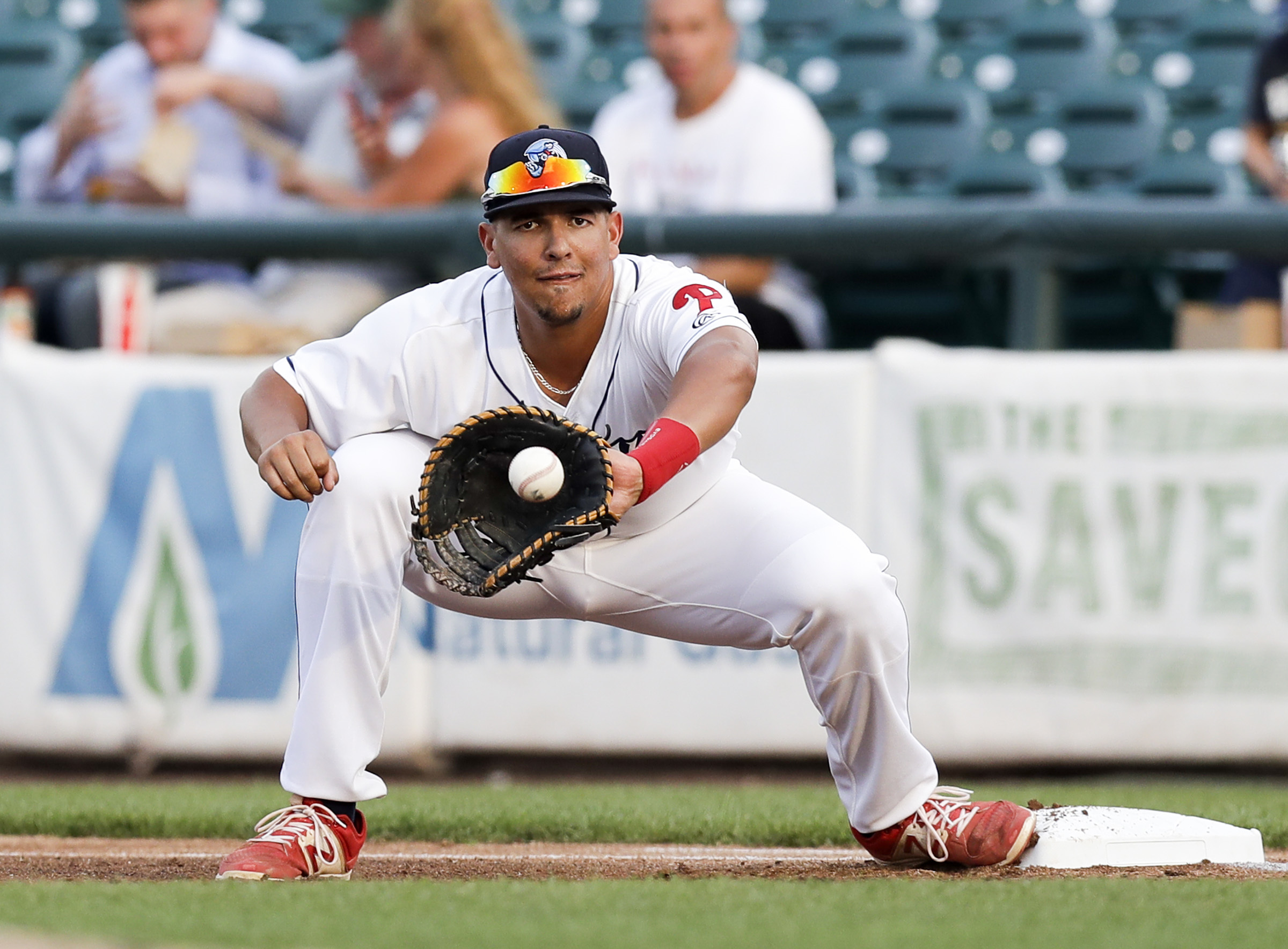Darick Hall, shown here playing for the Lakewood BlueClaws in 2017, was the best first-base prospect in the Phillies system this year.