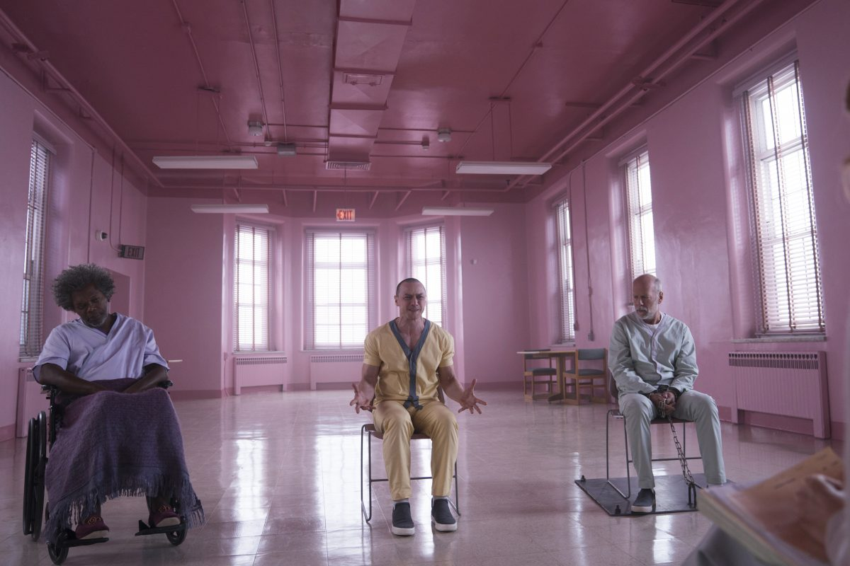 Samuel L. Jackson, James McAvoy and Bruce Willis in �Glass� )